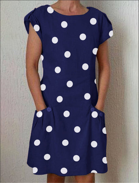 Pockets Buttoned-decor Large Dot Printing  Dress