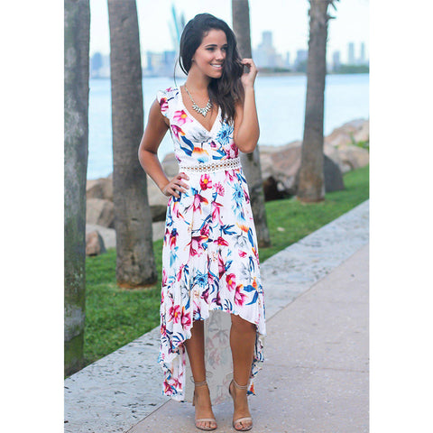 Floral Print Patchwork Lace V-neck Sleeveless Bohemian Maxi Dress
