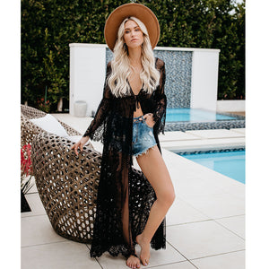 Lace Tie Rope Sexy Perspective Long Cardigan Bikini Set Cover Up