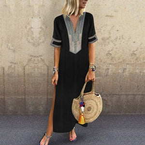 Women V neck Shift  Half Sleeve Slit Solid Summer Dress