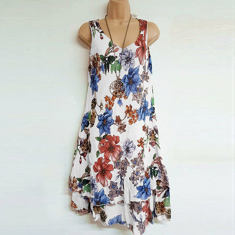 S-5XL Plus Size Double layer Sleeveless Print Dress