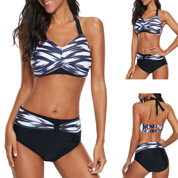 Halter High Waist Twist Front Purple Bikini Set