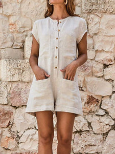 Simple Short Sleeve Solid Color Pockets Design Casual Romper