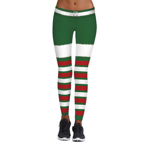Christmas Print Stretch Tights Casual Sweatpants Leggings