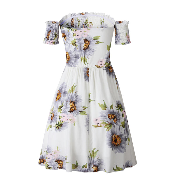 Fashion Print Ruffle Short Sleeve Off Shoulder Mini Dress