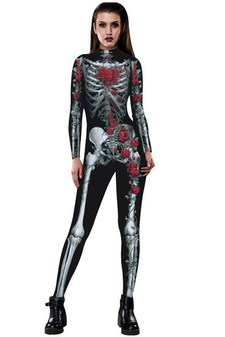 3D Funny Skeleton Rose Print Tight Stretch Women Long Sleeve Jumpsuit Pants Pajamas Onesies Playsuit