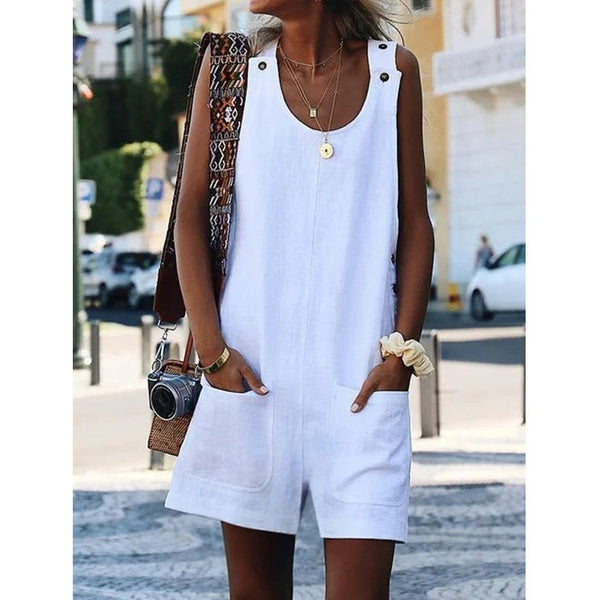 Summer Sleeveless Solid Color Pockets Short Thin Beach Rompers