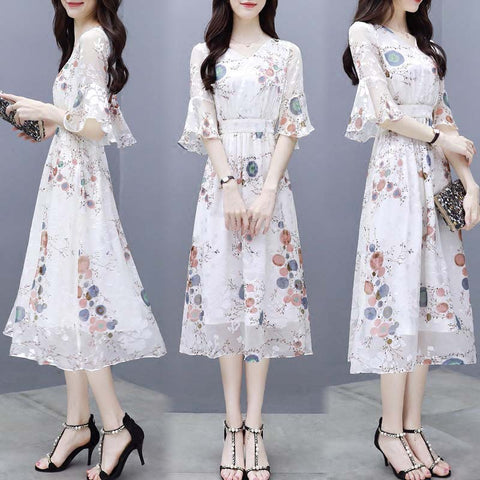 Chiffon Dress Women's Waist Floral Dress