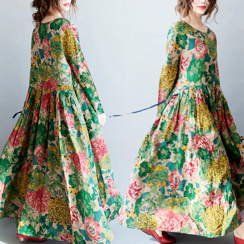 Floral Printed Long Linen Plus Size clothing O-neck Maxi Dress