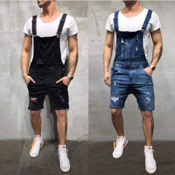 Men Bib Overall Shorts Zipper Ripped Waist Denim Shorts Romper