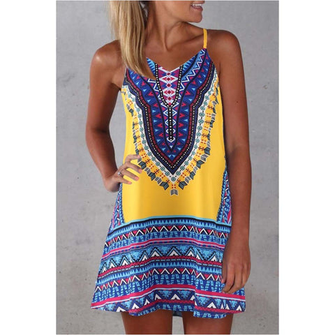Ladies Sleeveless Summer Fashion Ethnic Totem Print Thin Mini Dress