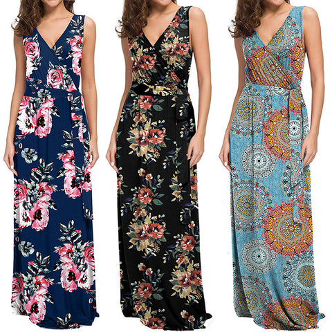 Floral Printed Bohemian V-neck Sleeveless Beach Maxi Dress