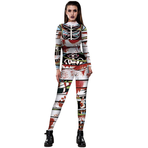 3D Funny Skeleton Blood Print Tight Stretch Women Long Sleeve Jumpsuit Pants Pajamas Onesies Playsuit