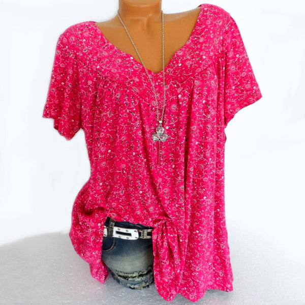 V-neck Short Sleeve Casual Printed Blouse