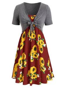 Cami Sunflower Print Dress with Crop T-shirt
