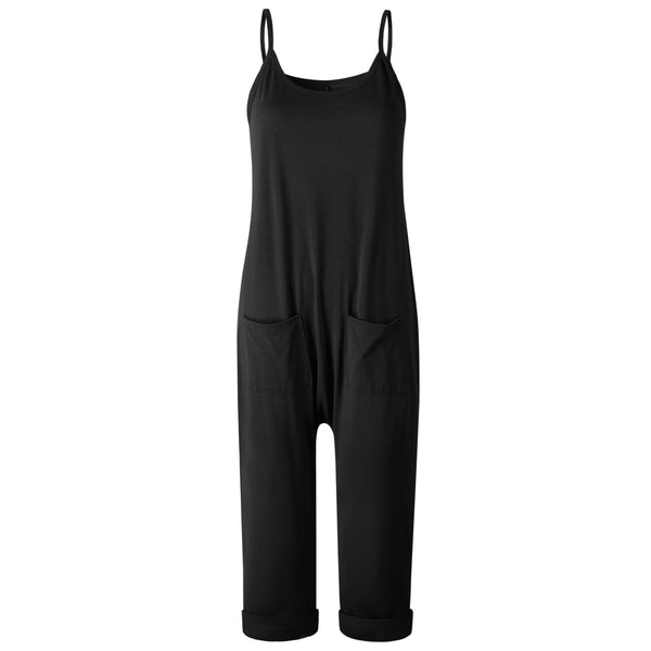 Solid Color Sling Pocket Jumpsuits