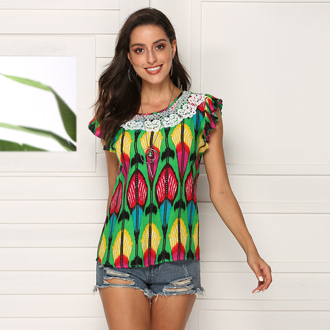 Round Neck Bohemian Printed women's T-shirt