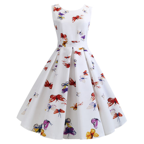 Butterfly Printed Women Vintage Sleeveless Round Neck Flare Retro Summer Dress