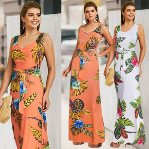 Floral Print Sashes Round Neck Sleeveless Bohemian Beach Maxi Dress