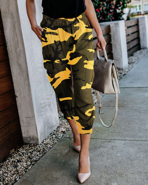 Women Camo Cargo Pants Harem Loose Sports Casual Camouflage Trousers