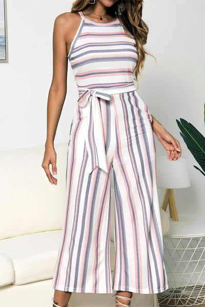 Color Stripe Print Sleeveless Wide Legs Jumpsuit