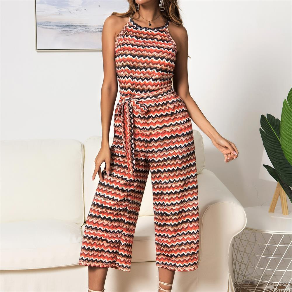 Color Wave Print Sleeveless Wide Legs Jumpsuit
