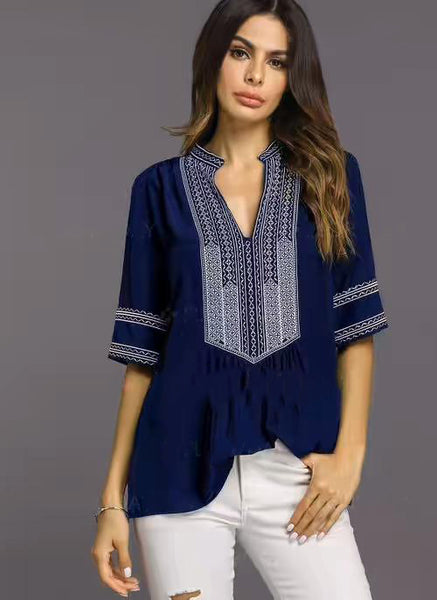 Handmade Embroidered Short Sleeves Loose Blouse