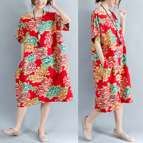 Red Floral Midi-length Linen Dress Plus Size Linen Clothing Casual O Neck Short Sleeve Linen Cotton Dress