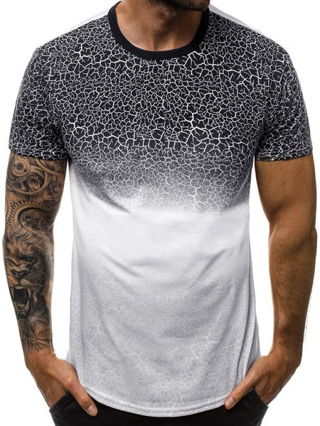 Fashion Print Gradient Men's Casual Sports T-shirt