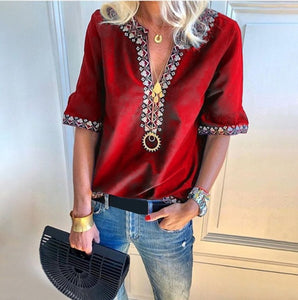 Handmade Embroidered Bohemian Loose V-Neck Shirt