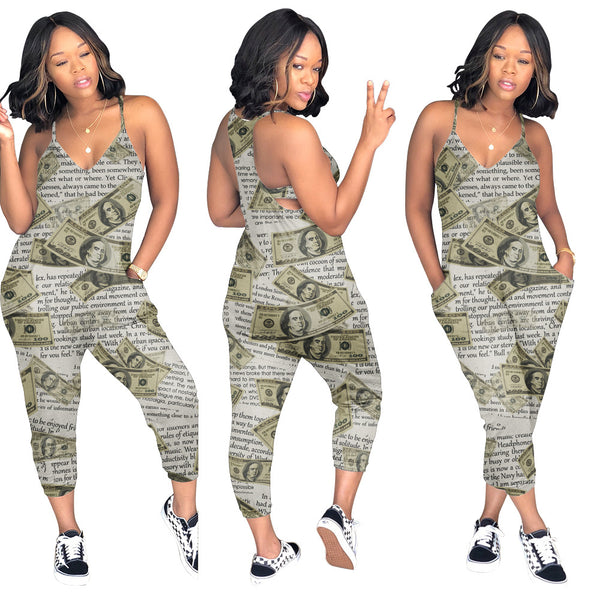 Women Spaghetti Strap Multi Color Jumpsuit