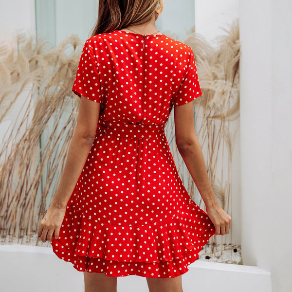 Fashion Print Polka-dot V-neck Ruffled Zip Tie Women's Dress