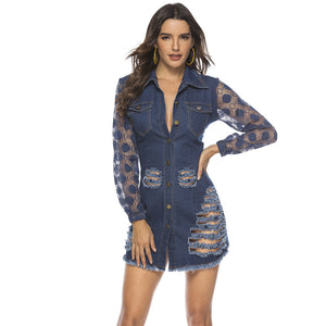 Women Lace-paneled Transparent Sleeves Skinny Ripped Button Denim Sexy Shirt Jean Dress Jacket Outerwear