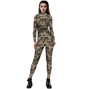 3D Funny Camo Camouflage Print Tight Stretch Women Long Sleeve Jumpsuit Pants Pajamas Onesies Playsuit