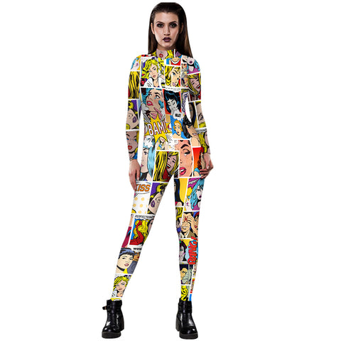 3D Funny Cartoon Anime Print Tight Stretch Women Long Sleeve Jumpsuit Pants Pajamas Onesies Playsuit