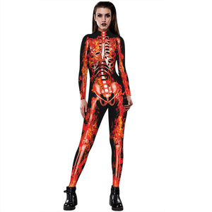 3D Funny Skeleton Print Tight Stretch Women Long Sleeve Jumpsuit Pants Pajamas Onesies Playsuit