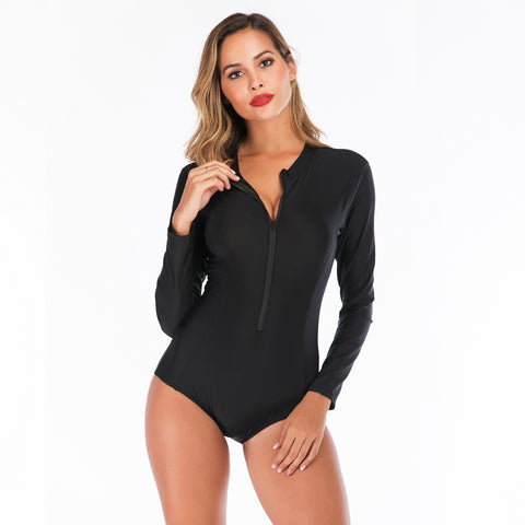 Women Solid Sexy One Piece Swimwear Long Sleeve Black Zip Fashion Surfing Suit Wetsuit Bathing Suit