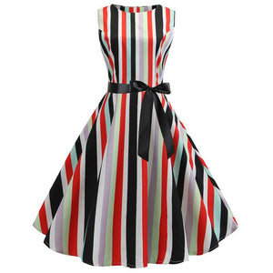 Thin 1950s Retro Vintage Cocktail Party Print Swing Dress