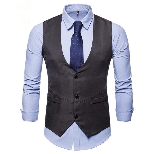 Men's Single Breasted Solid Color Suit Vest Waistcoat