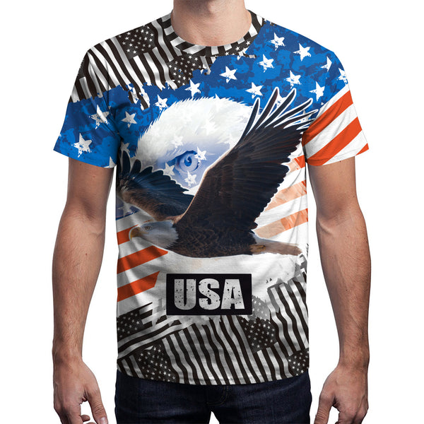 3D Flag Eager Printed Short Sleeve T-shirt