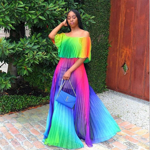 Bohemian Gradient Pleated Sexy Dress