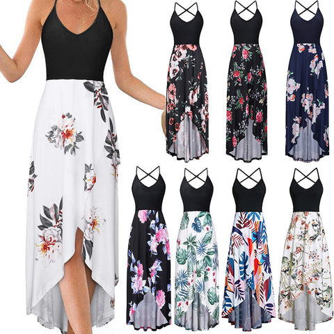 Women's V Neck Sleeveless Summer Asymmetrical Patchwork Floral Maxi Dresses