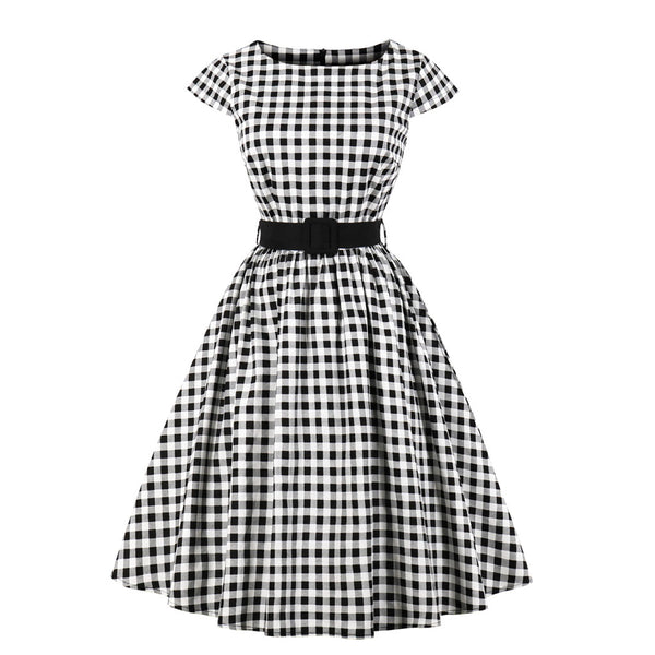 Plaid/Pollo Print Vintage Dress(S-4XL)