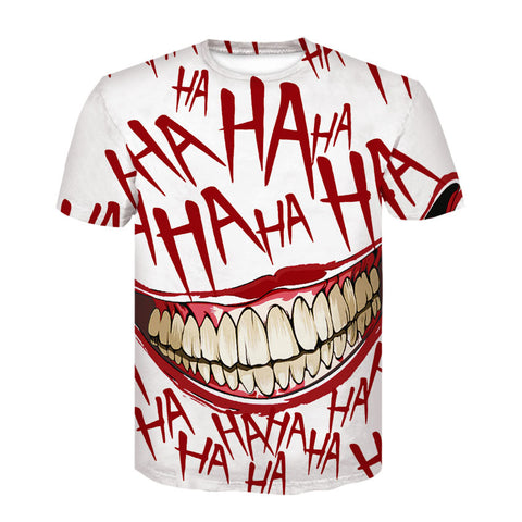 Halloween Haha Joker Digital 3D Printing T-shirt