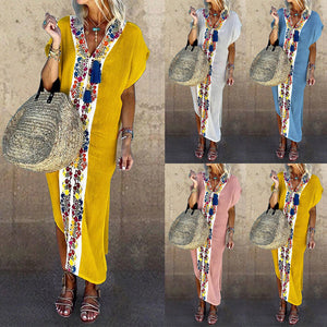V Neck Women Summer Dresses Printed Beach Casual Maxi Dresses