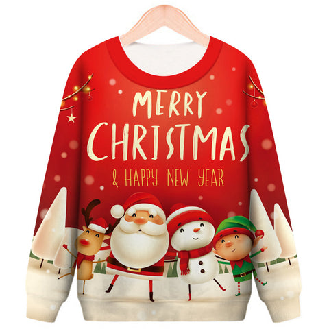 Christmas Printed Round Neck Casual Pullover Sweatshirt
