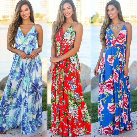 Sling V-neck Open Back Printed Beach Dress