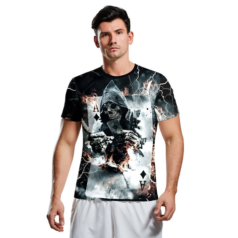 3D Horror Poker Print Short Sleeve Halloween T-shirt