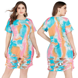 Plus Size Tie Dye Printed Women Short Sleeve Hollow Out Summer Short Dress