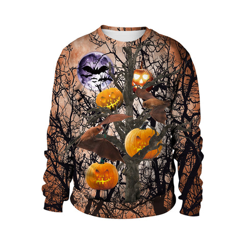 Pumpkin 3D Digital Print Halloween Day Round Collar Sweatshirt
